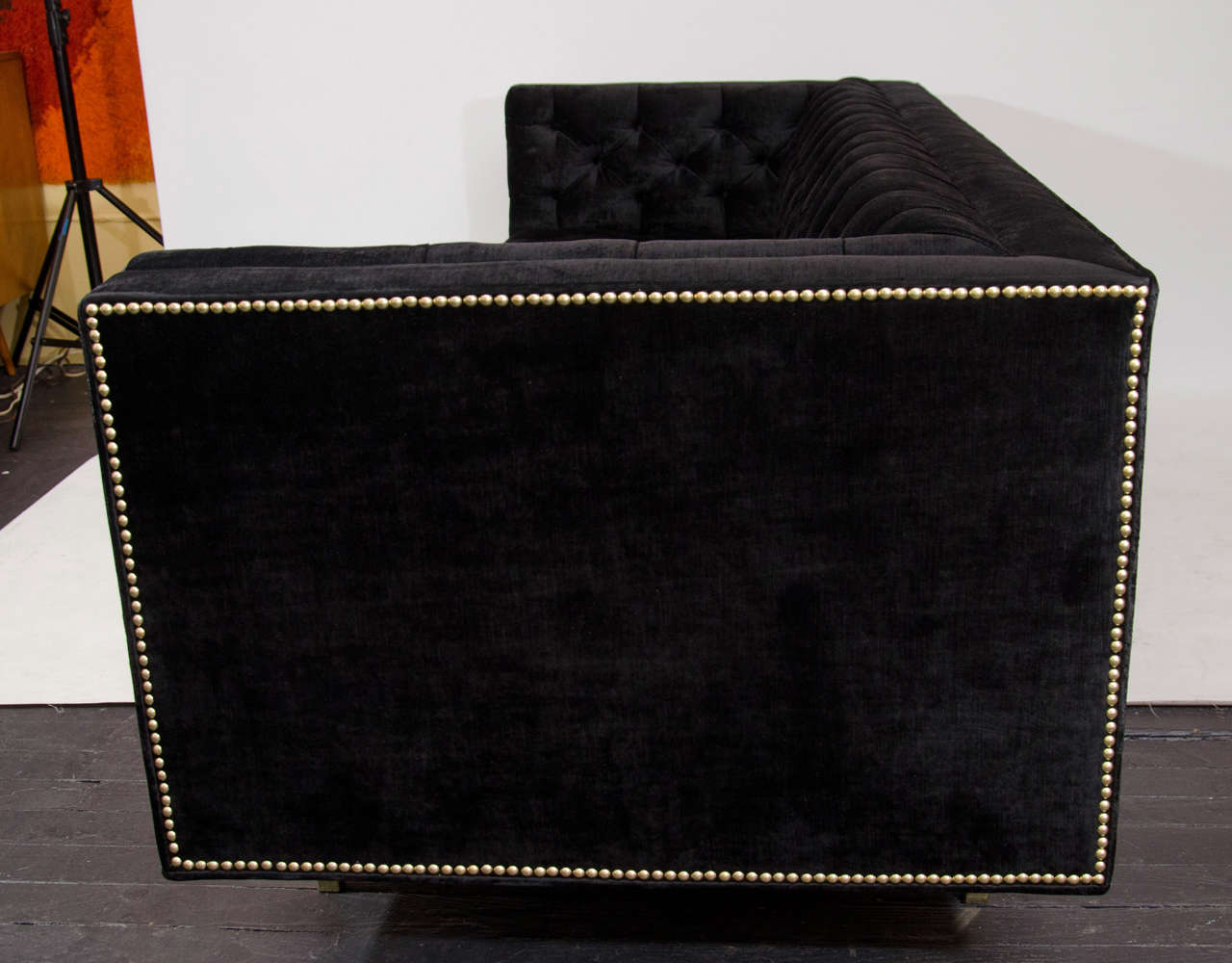 Modernist Tufted Tuxedo Sofa with Brass Accents 8
