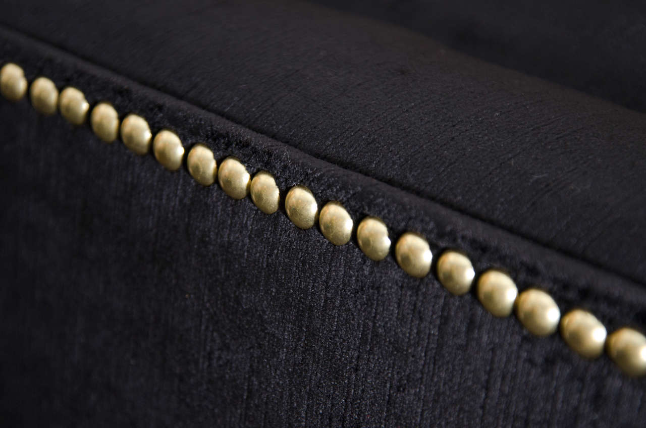 Modernist Tufted Tuxedo Sofa with Brass Accents 10