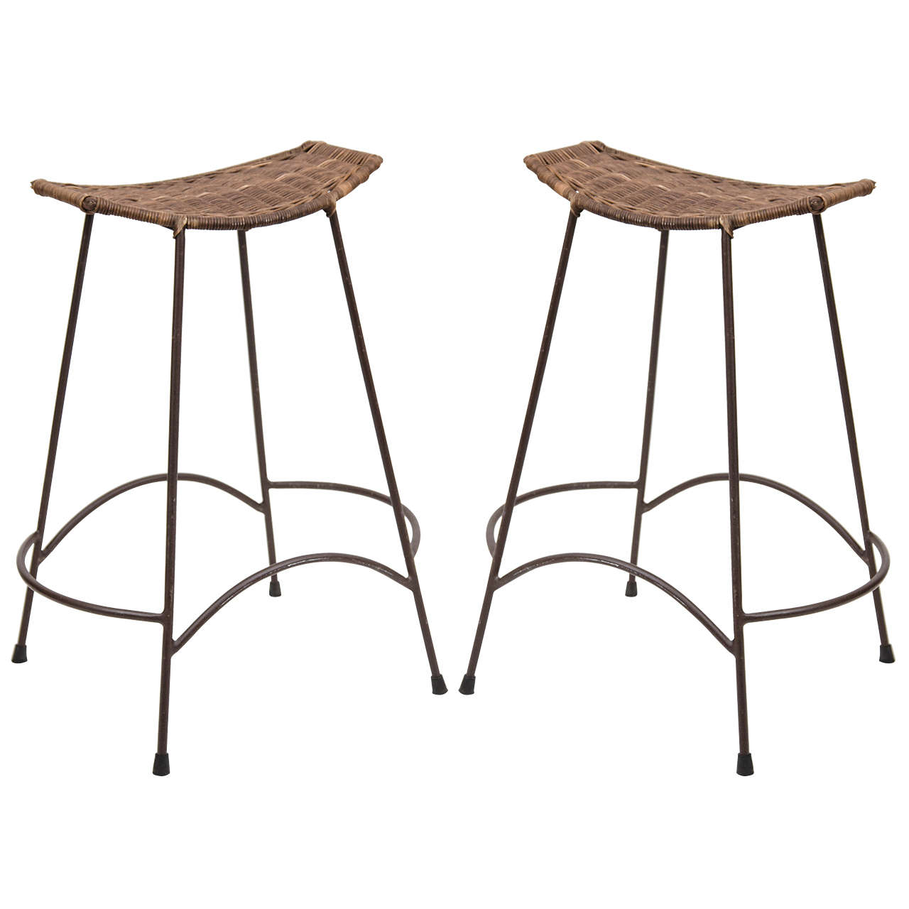 Pair Of Counter Height Bar Stools In The Manner Of Arthur