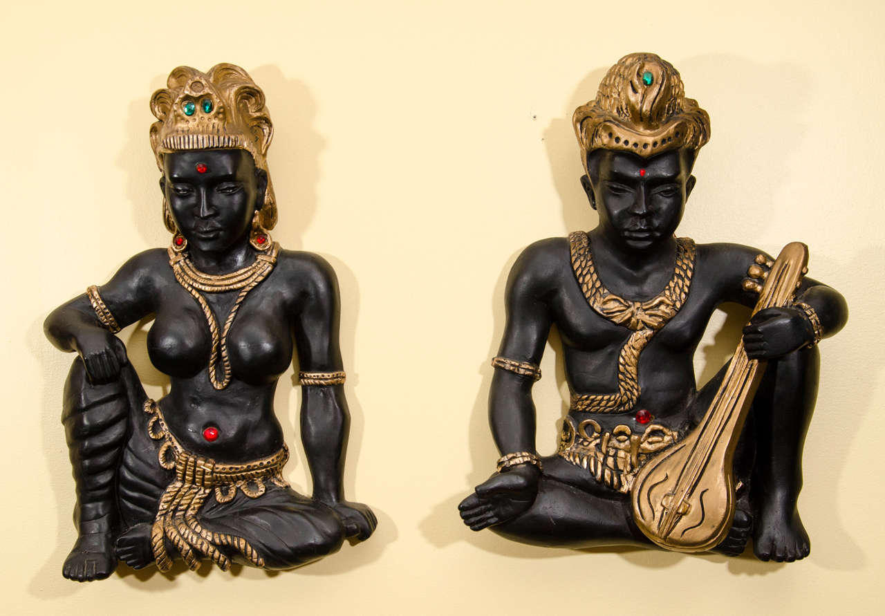 Pair of Exotic Figurines Wall Sculpture 2