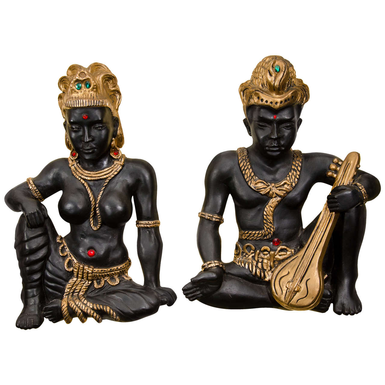 Pair of Exotic Figurines Wall Sculpture 1