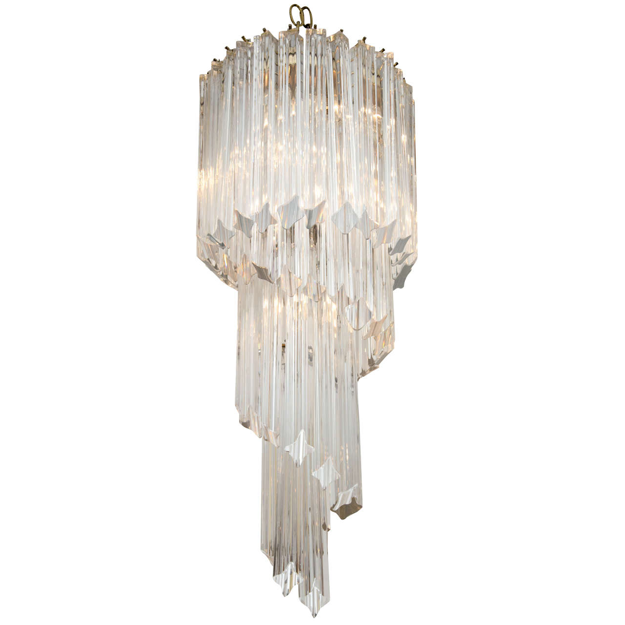 Small Scale Quatrefoil Crystal Spiral Chandelier At 1stdibs