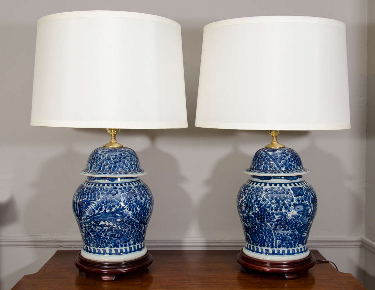 Pair Of Blue And White Porcelain Chinese Temple Jar Lamps at 1stdibs