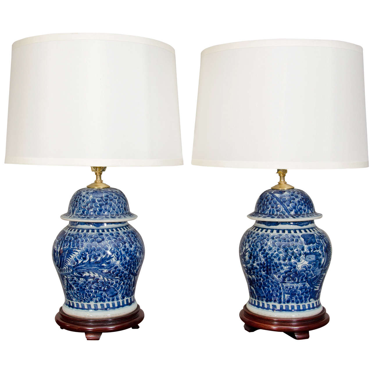 Home Decor Antiques Pair Of Blue And White Porcelain Chinese Temple Jar Lamps