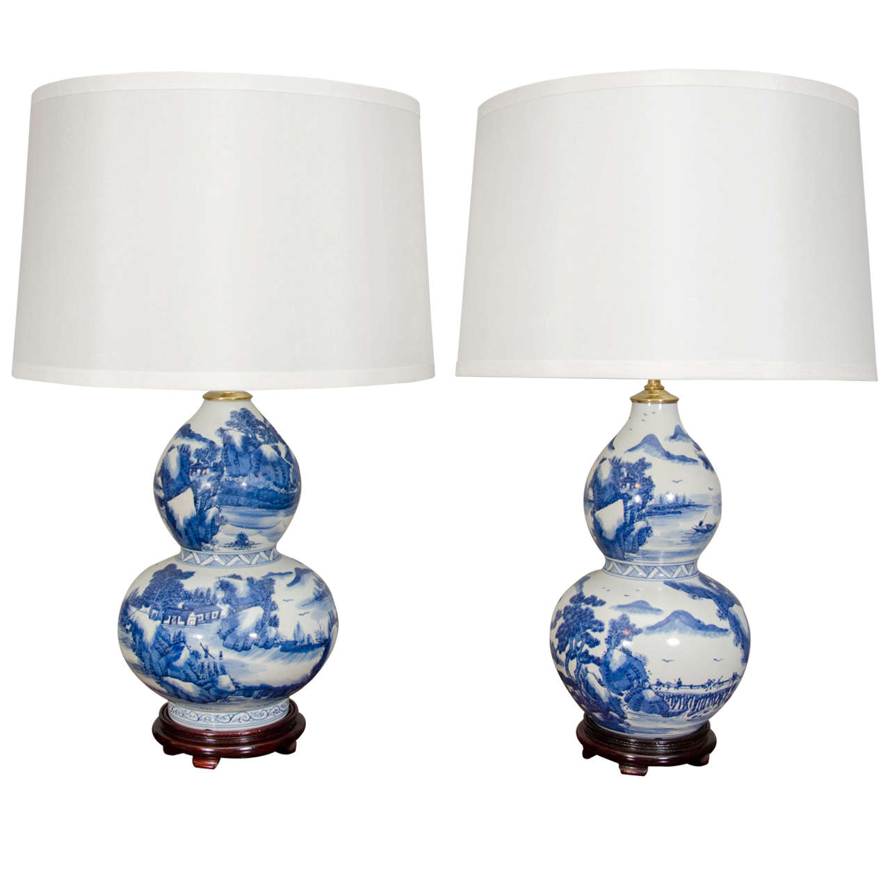Pair Of Chinese Blue And White Double Gourd Shaped Lamps