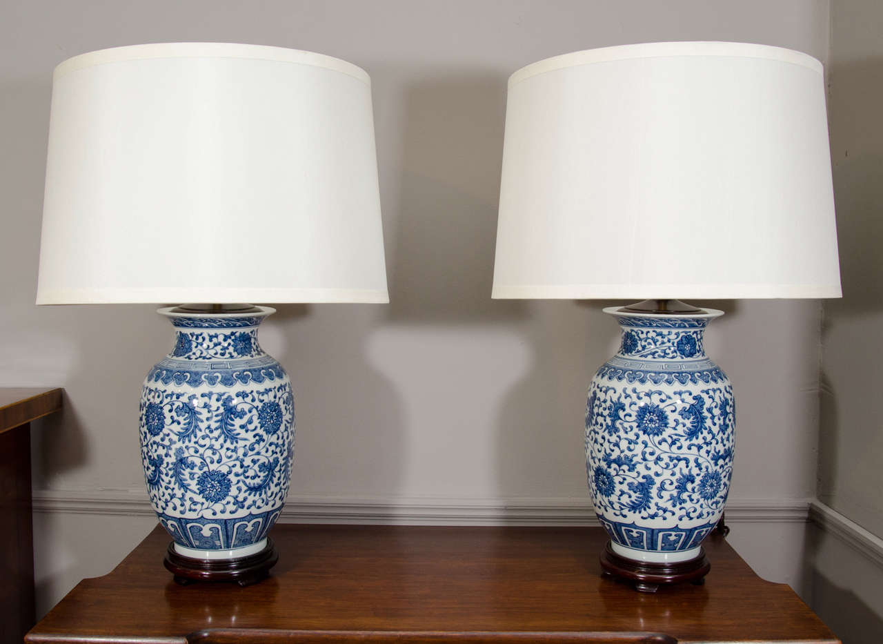 Pair Of Blue And White Porcelain Chinese Ginger Jar Lamps.