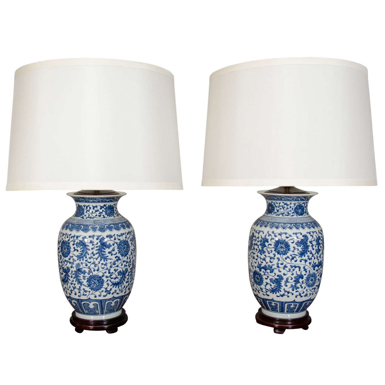 Pair Of Blue And White Porcelain Chinese Ginger Jar Lamps For Sale