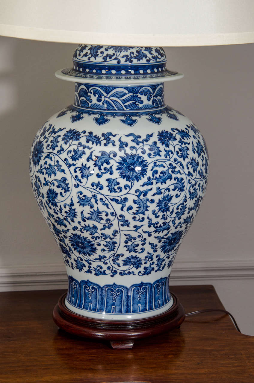Pair Of Blue And White Porcelain Chinese Temple Jar Lamps