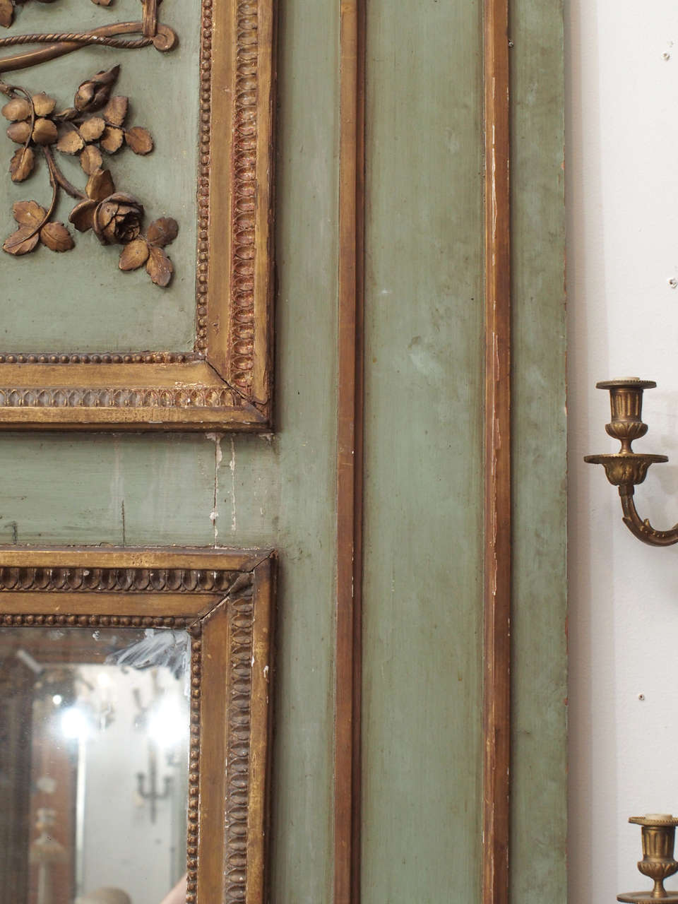 Painted and Gilded Trumeau Mirror For Sale 2