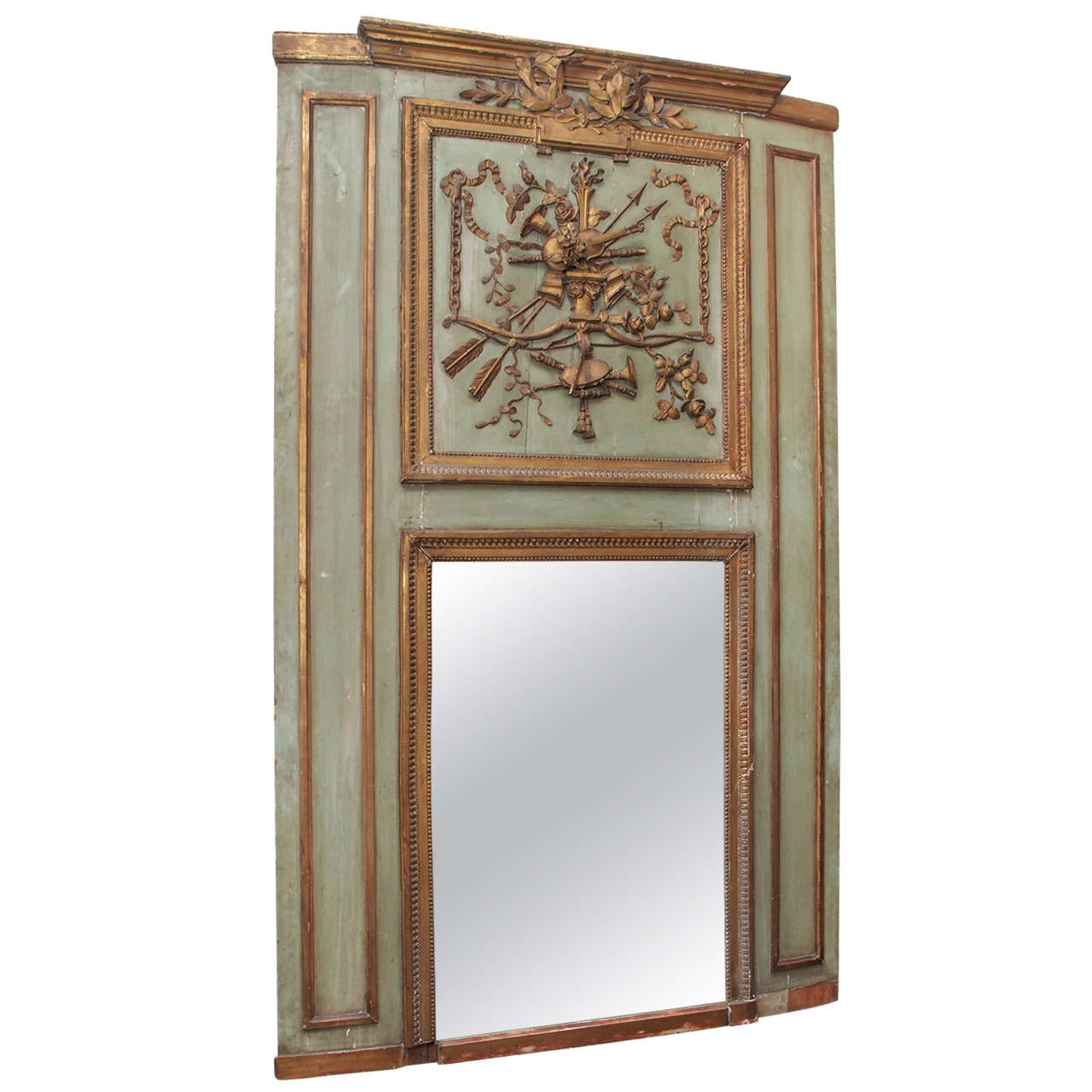 painted and gilded trumeau mirror for sale at 1stdibs. Black Bedroom Furniture Sets. Home Design Ideas