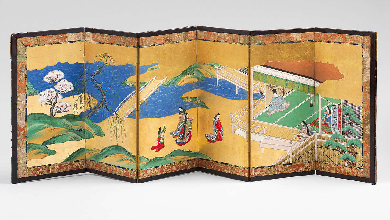 Antique japanese screens for sale - 18th Century Pair Of Japanese Screens Genji Tale 2
