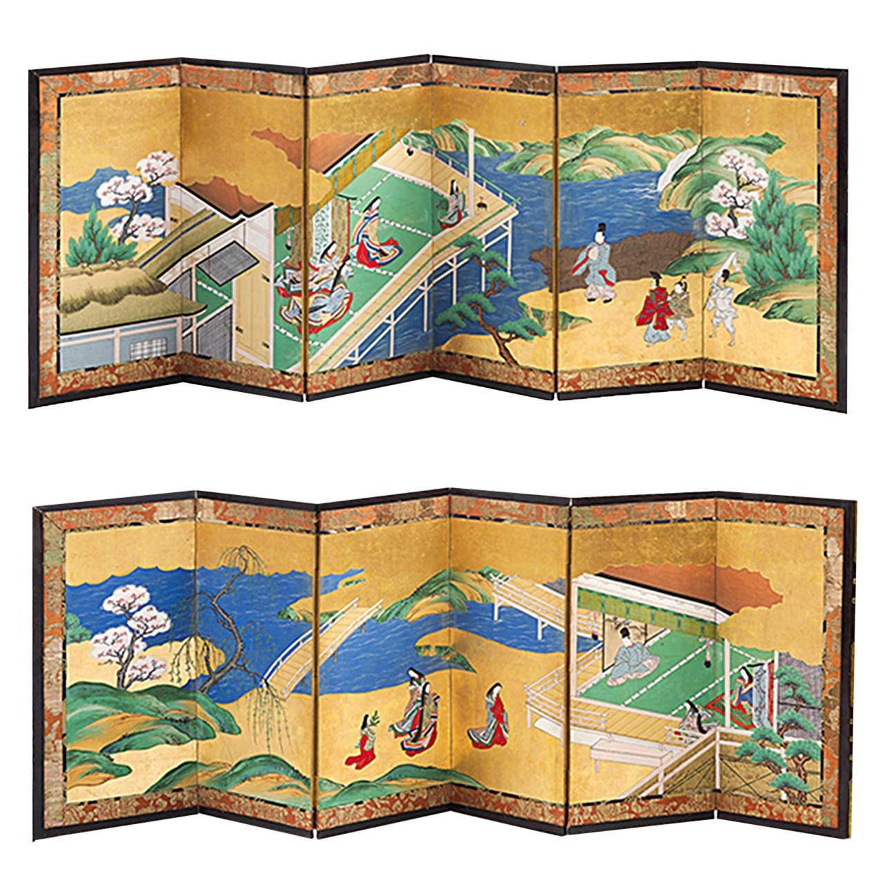 "18th Century Pair of Japanese Screens, ""Genji Tale"""