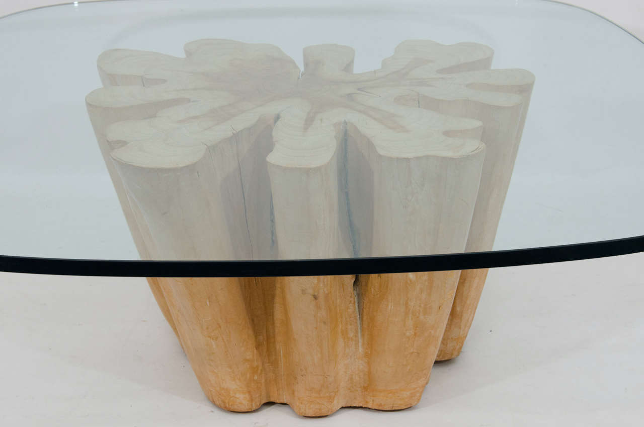 Elegant cypress tree trunk coffee table at 1stdibs Tree trunk coffee table glass top