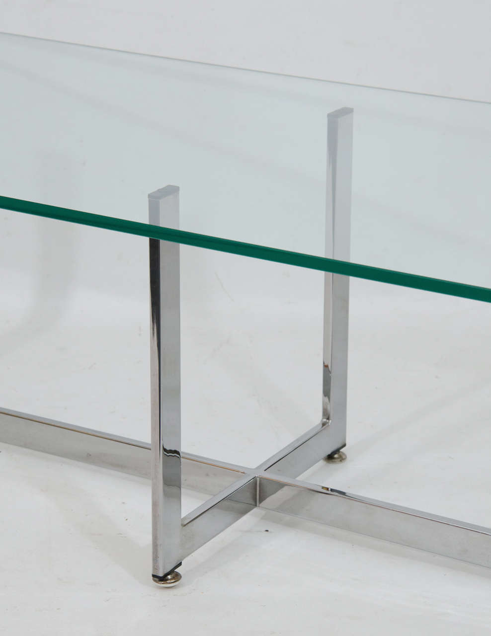 Rectangular Glass Coffee Table: Floating Rectangular Glass And Chrome Coffee Table At 1stdibs