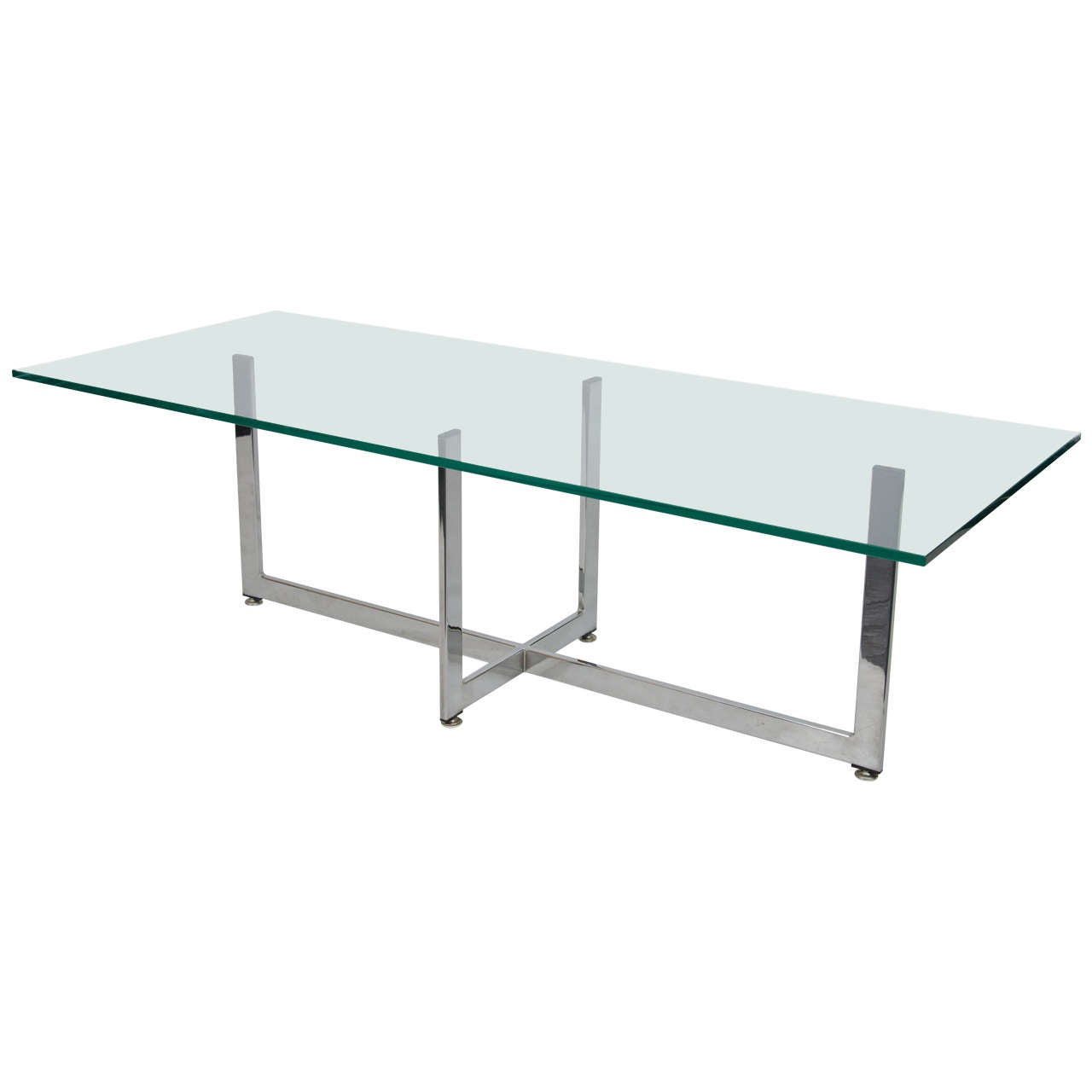 Rectangular Coffee Table With Glass Top And Curved Chrome: Floating Rectangular Glass And Chrome Coffee Table At 1stdibs