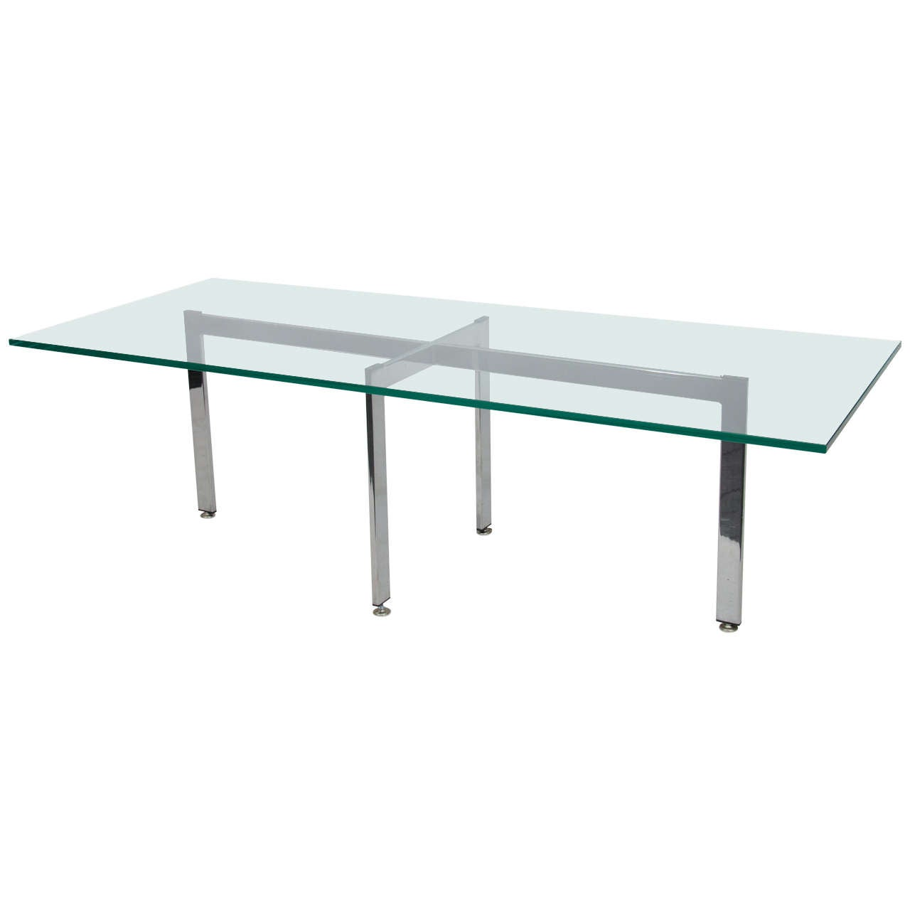 Chrome and glass rectangular coffee table at 1stdibs - Rectangular glass coffee table ...