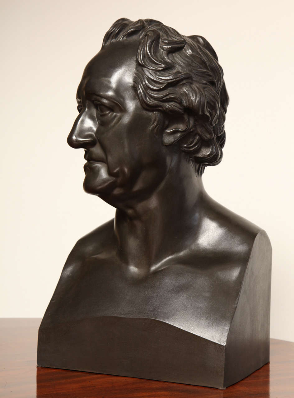 Unknown 19th Century Bronze Bust of Goethe For Sale