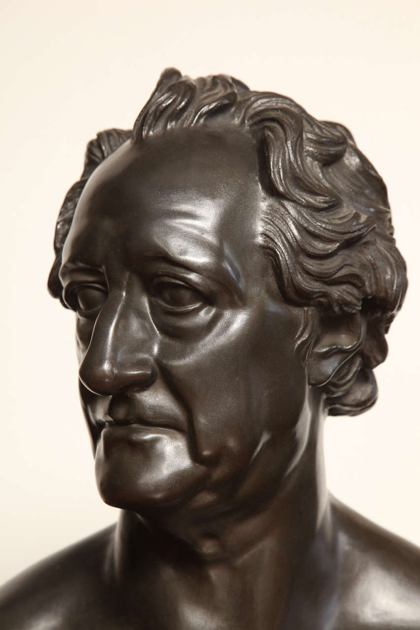 19th Century Bronze Bust of Goethe In Good Condition For Sale In New York, NY