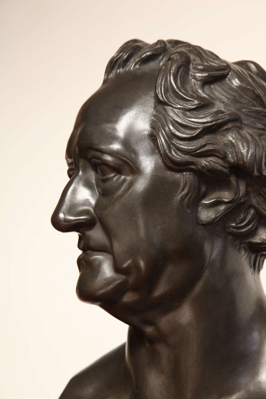 19th Century Bronze Bust of Goethe For Sale 1