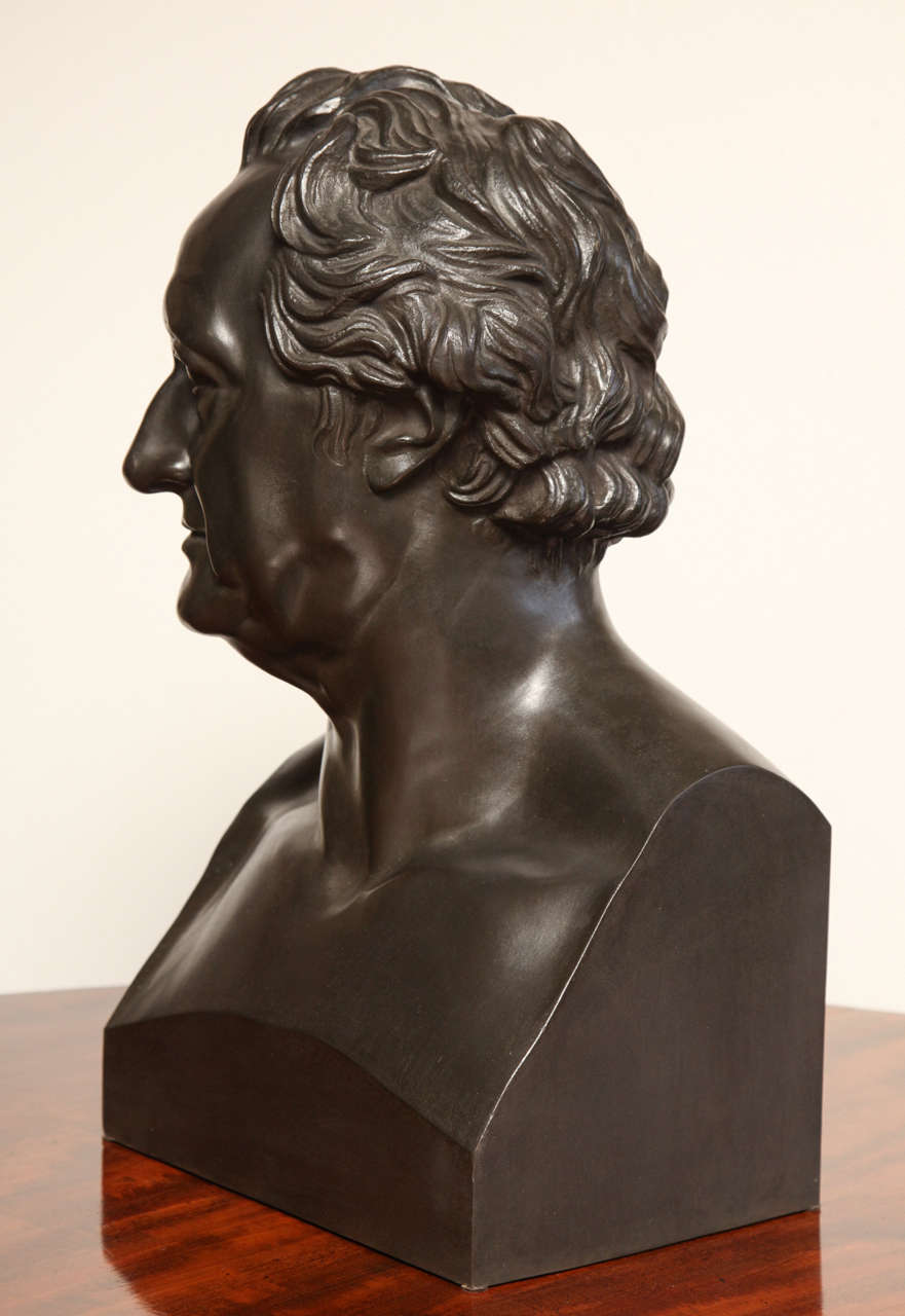19th Century Bronze Bust of Goethe For Sale 2