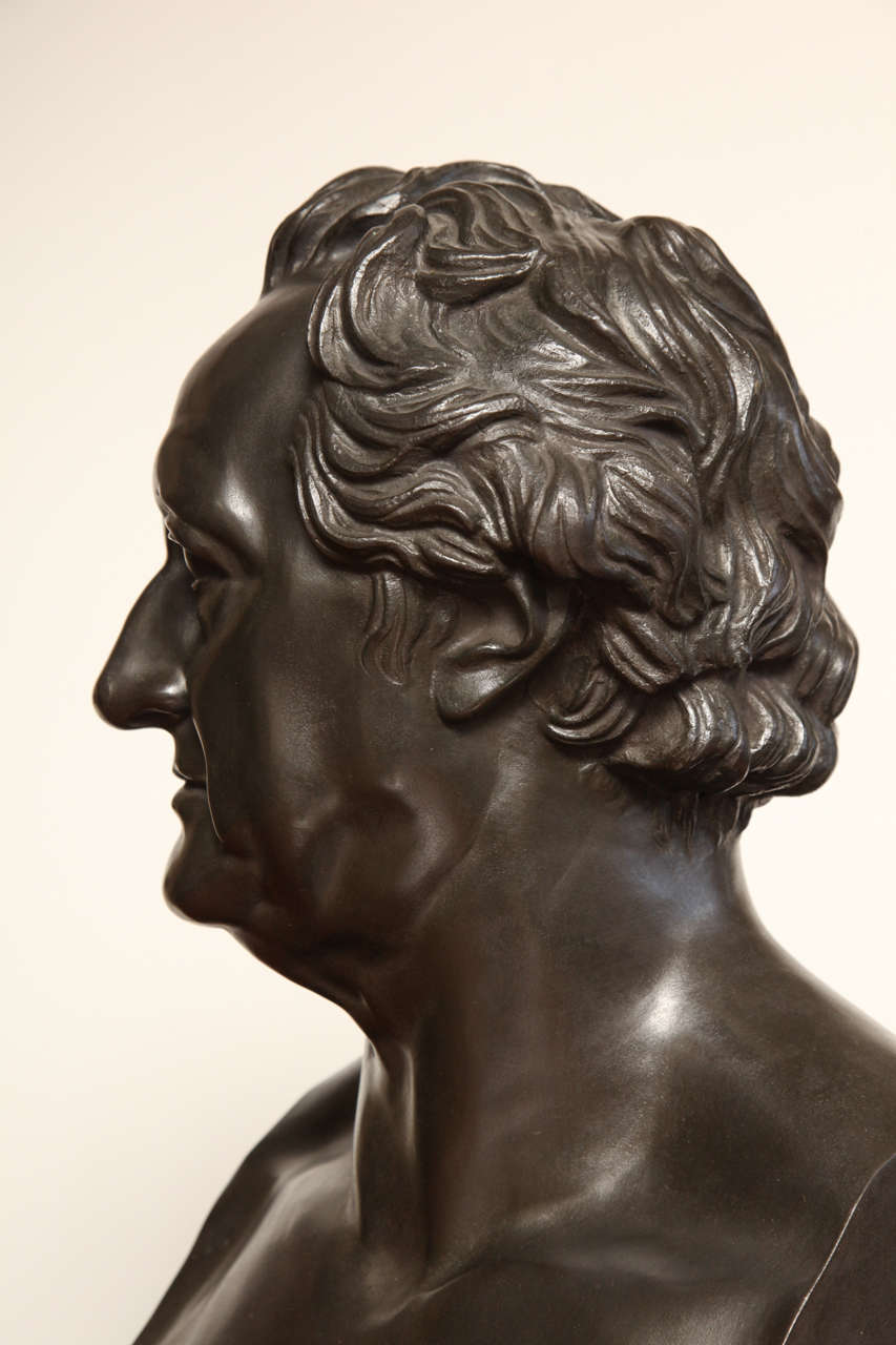 19th Century Bronze Bust of Goethe For Sale 3