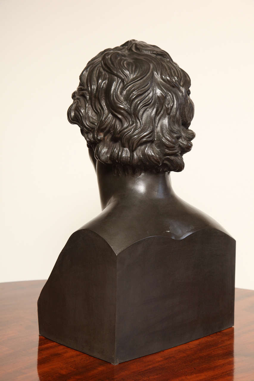 19th Century Bronze Bust of Goethe For Sale 4