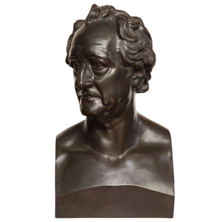 19th Century Bronze Bust of Goethe For Sale
