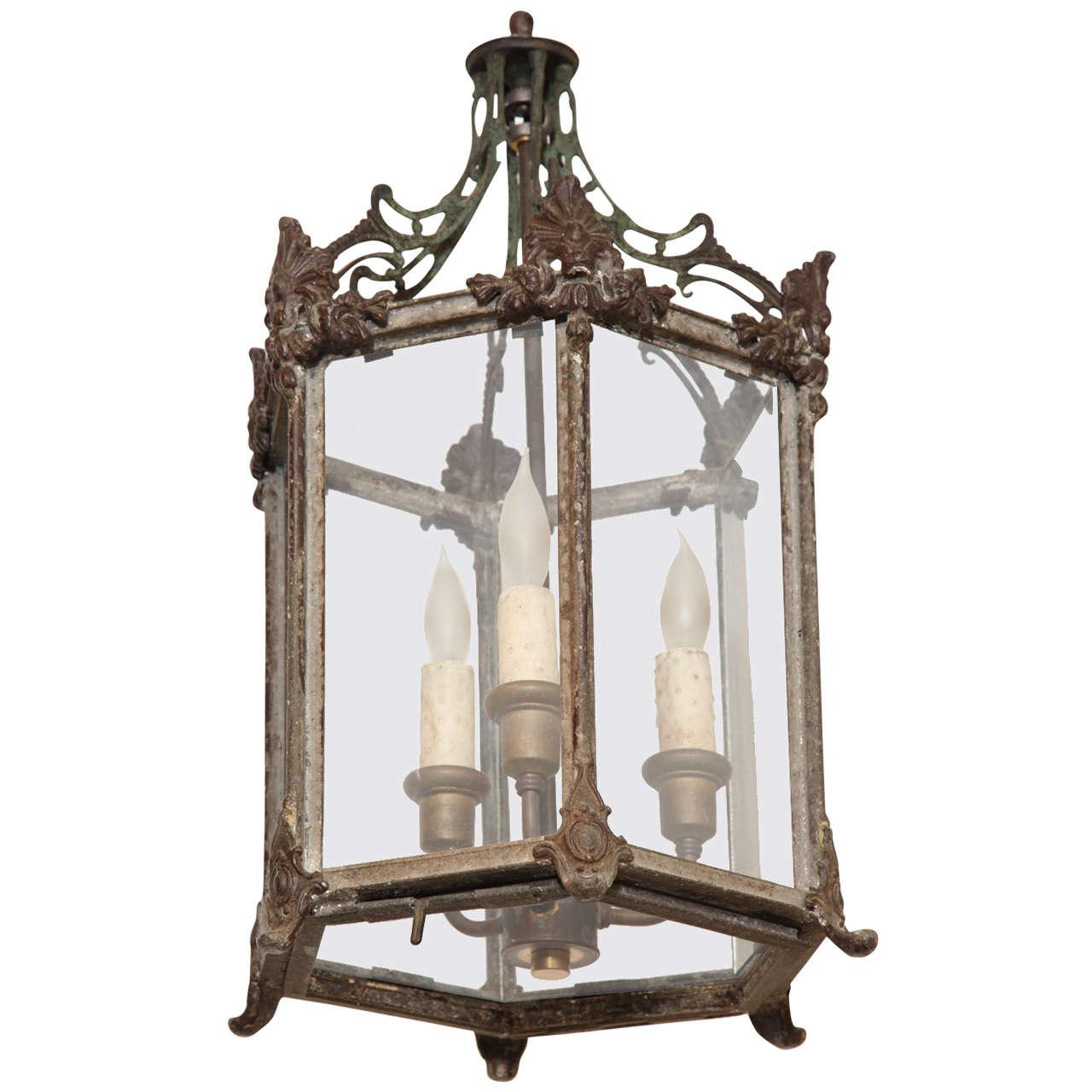 19th Century English, Iron, Three Light Lantern