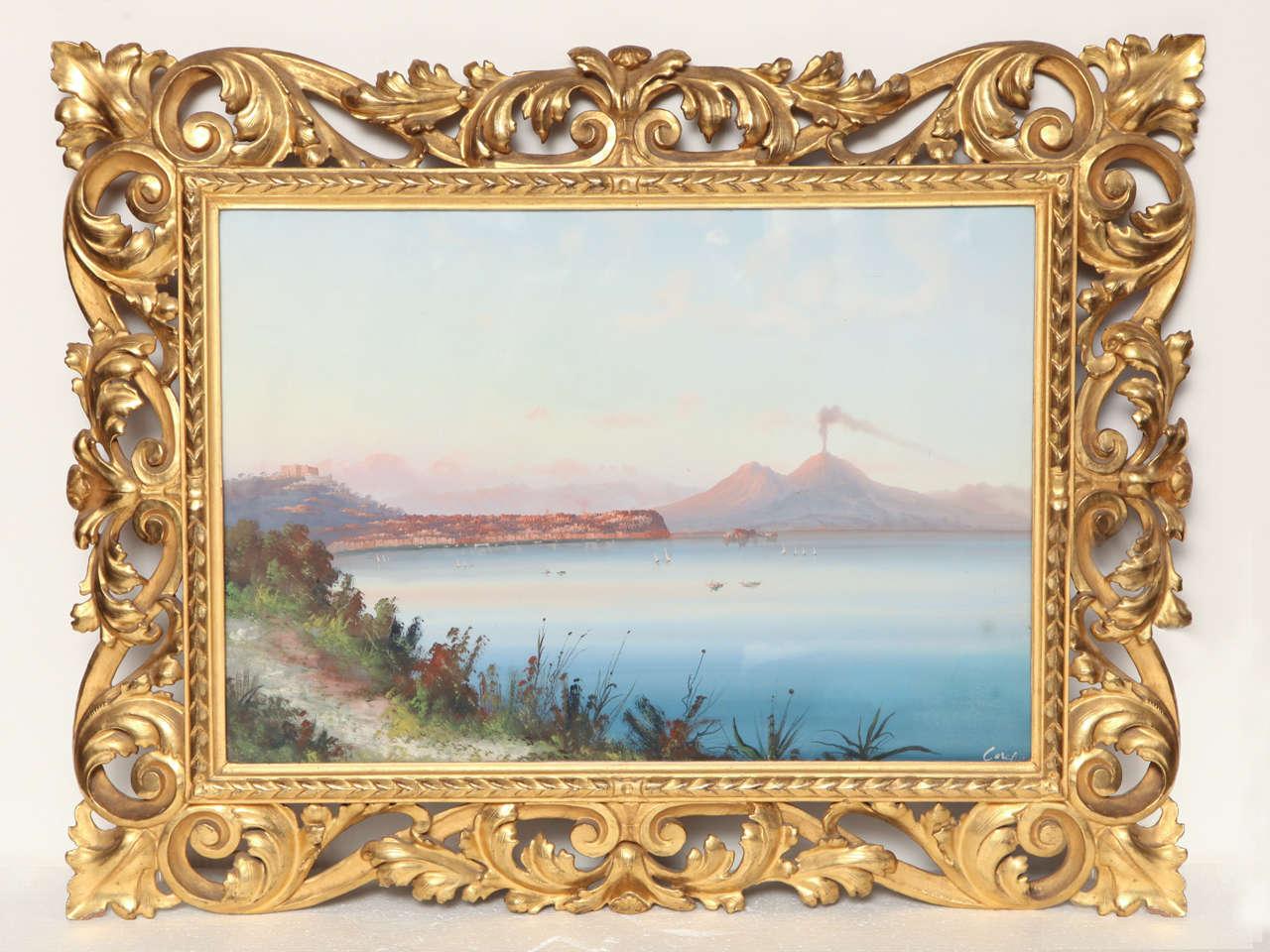19th century italian gouache in a gilded frame 2