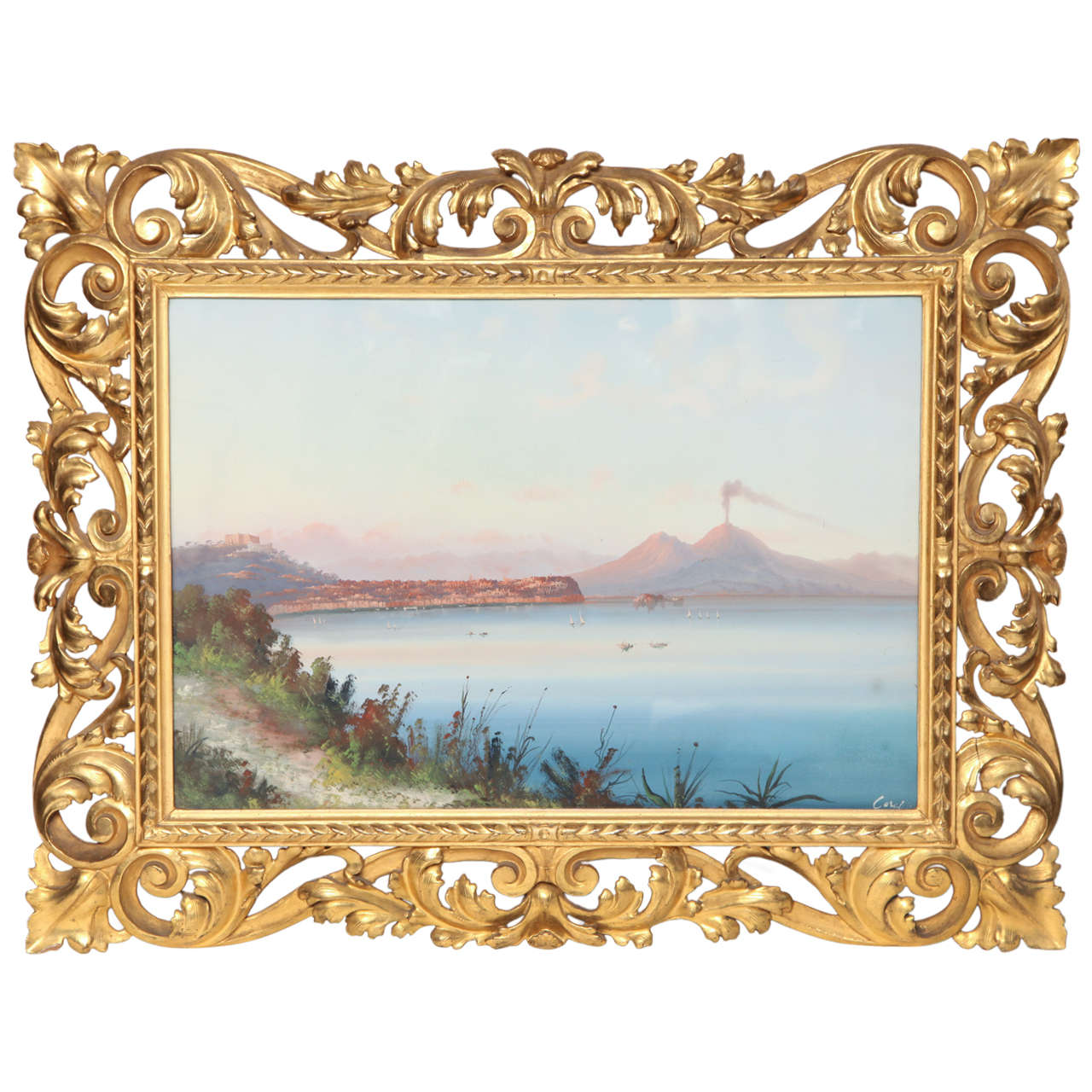 19th century italian gouache in a gilded frame for sale at 1stdibs 19th century italian gouache in a gilded frame for sale jeuxipadfo Images