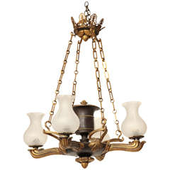Superb Pair of Regency Style Bronze, Four-Light Chandelier
