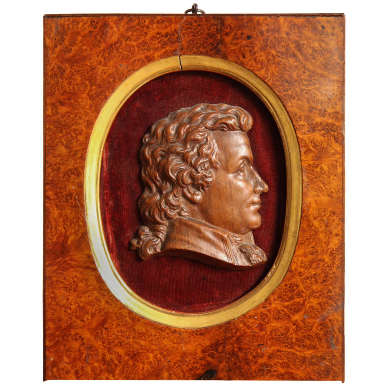 19th Century Carved Profile in Burl Frame