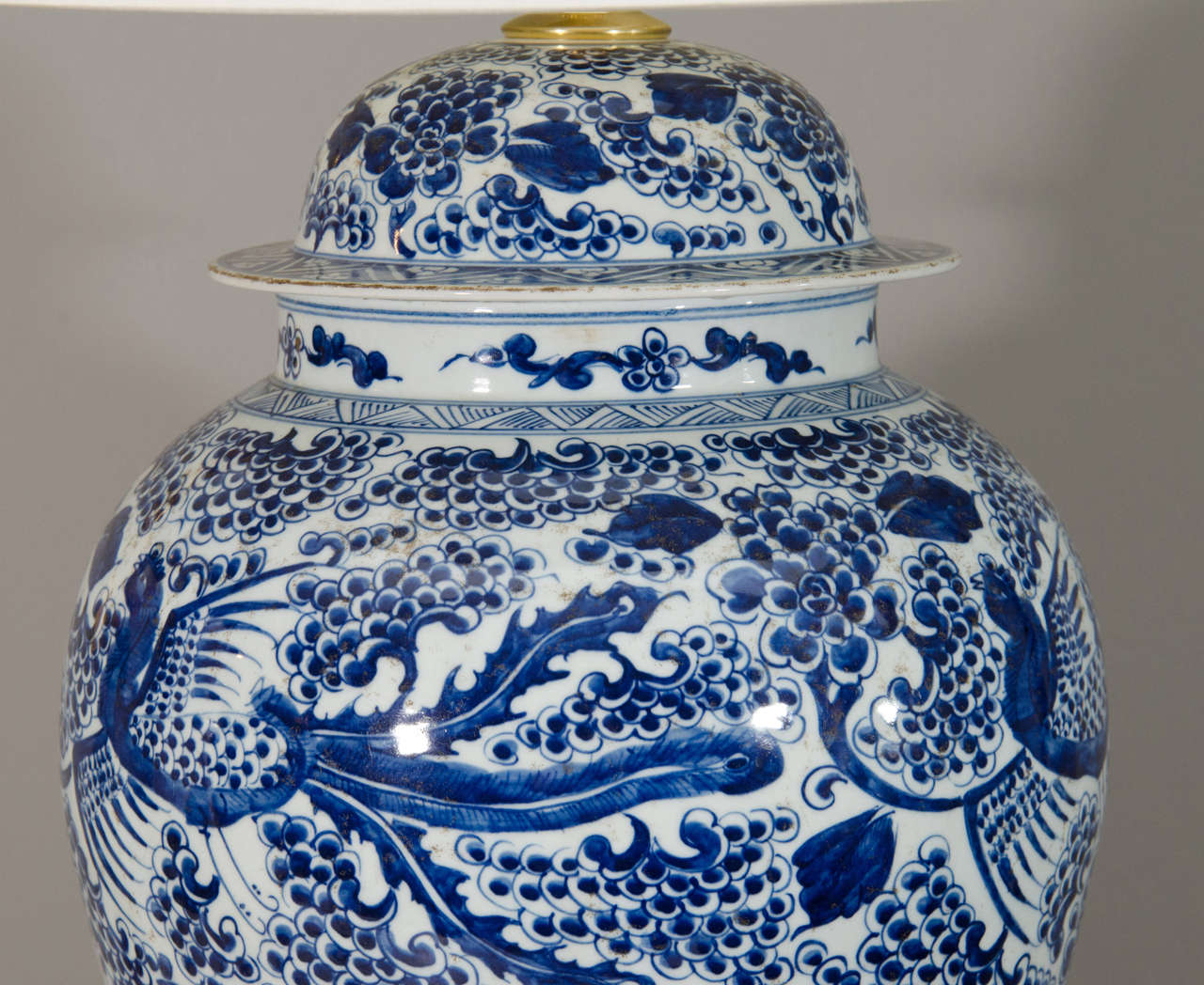 Pair of Temple Jar Lamps with Phoenix and Blossom Motif 5