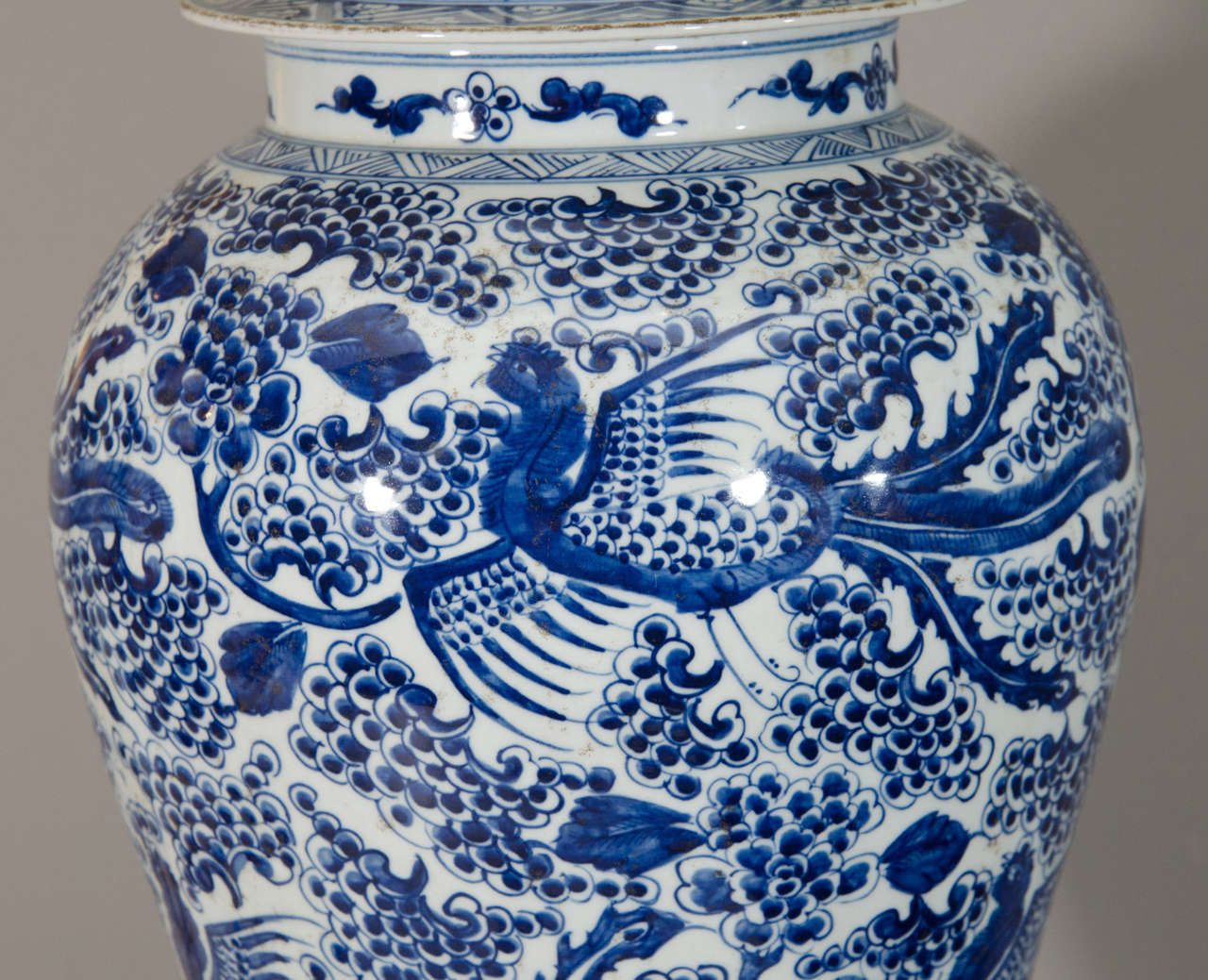 Pair of Temple Jar Lamps with Phoenix and Blossom Motif 6