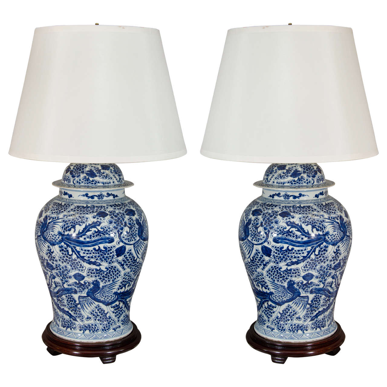 Pair of Temple Jar Lamps with Phoenix and Blossom Motif 1