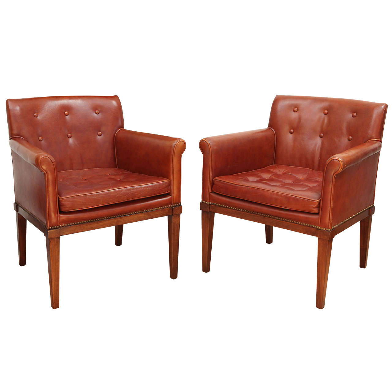 Pair Of Ralph Morse Leather Armchairs At 1stdibs