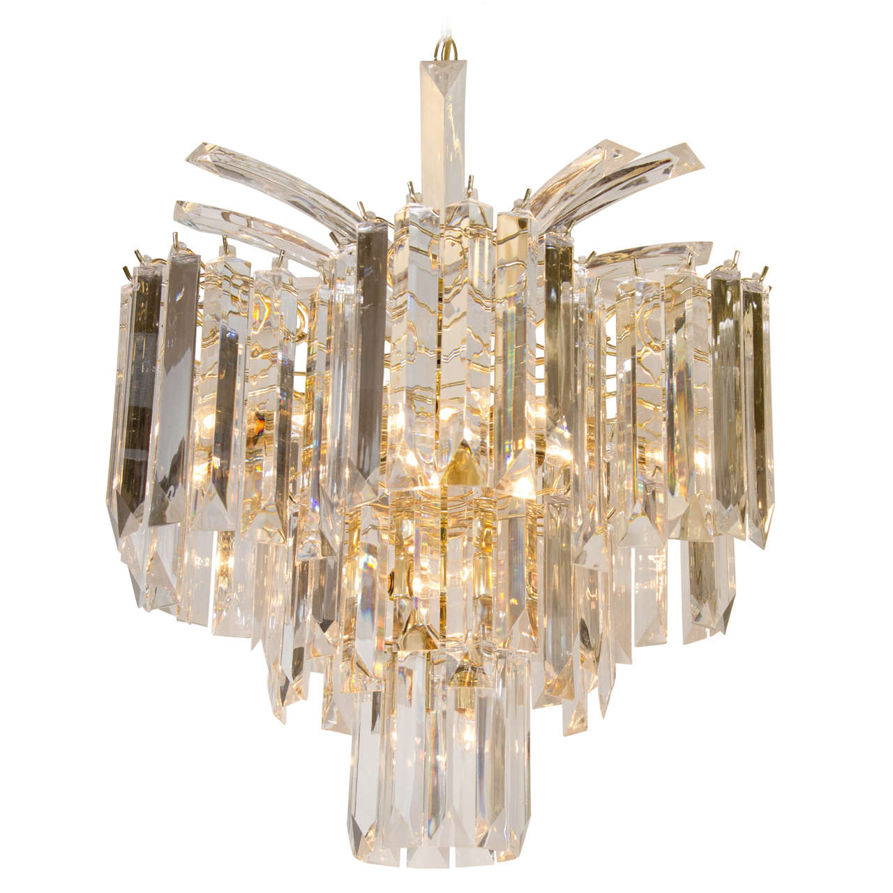 Camer Chandelier Gold Plated Palwa Crystal Prism