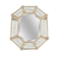 Midcentury Murano Glass Wall Mirror with Etching