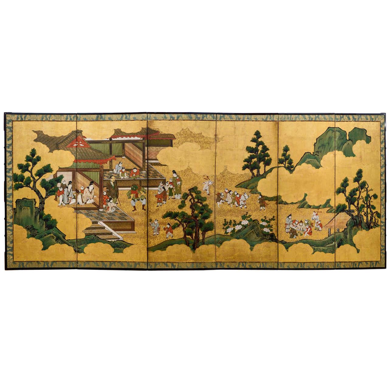19th Century Japanese Meiji Kodomo Screen