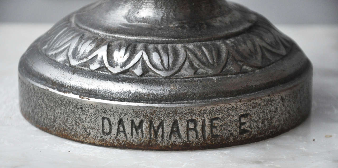 Pair of Large Art Deco Cast Iron Urns signed Dammarie E, France, 1930  In Excellent Condition For Sale In Chicago, IL