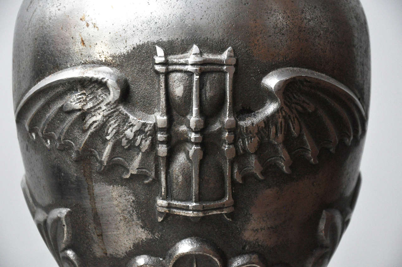 Early 20th Century Pair of Large Art Deco Cast Iron Urns signed Dammarie E, France, 1930  For Sale