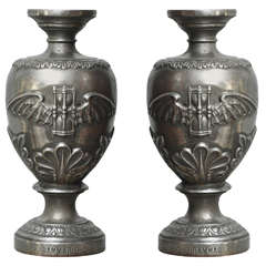Pair of French Art Deco Iron Urns