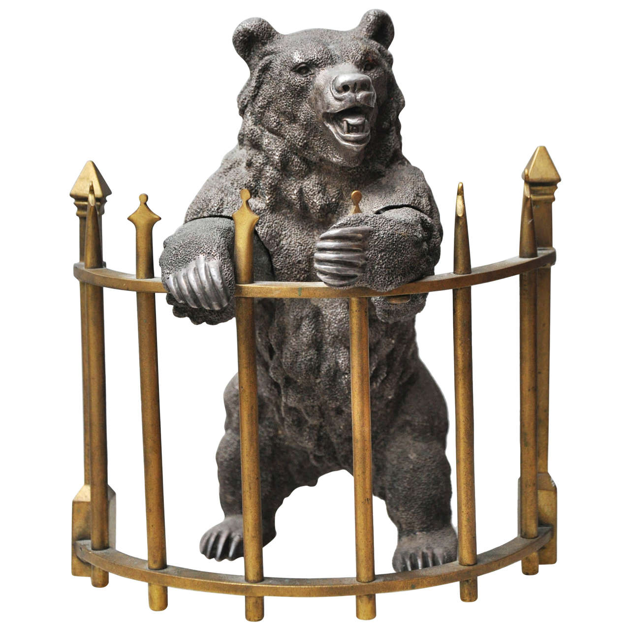 Russian Silvered Bronze Bear Inkwell, Russia, 1870