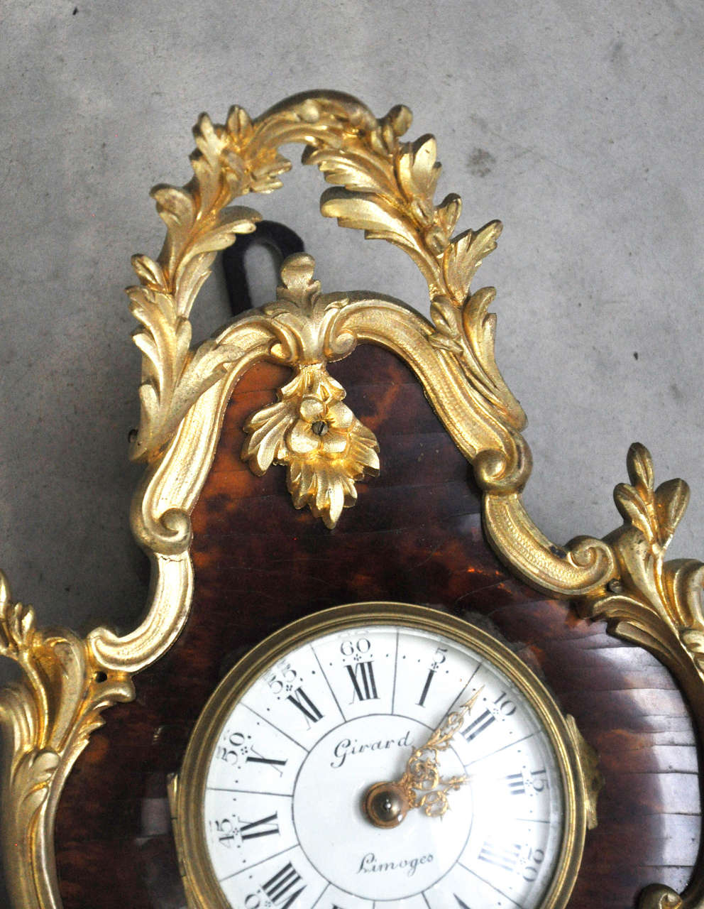 19th Century French Louis XV Style Tortoiseshell and Gilt Bronze Cartel Clock For Sale
