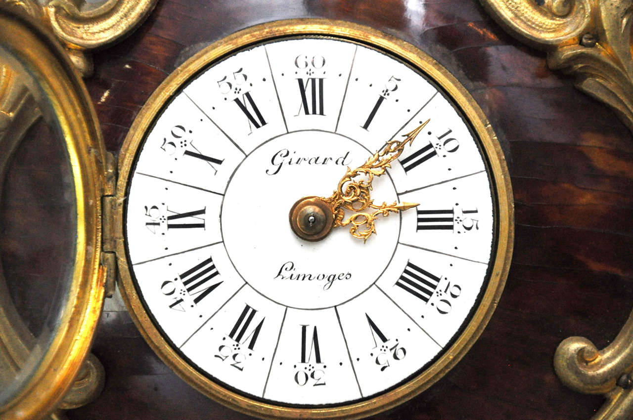 French Louis XV Style Tortoiseshell and Gilt Bronze Cartel Clock For Sale 1