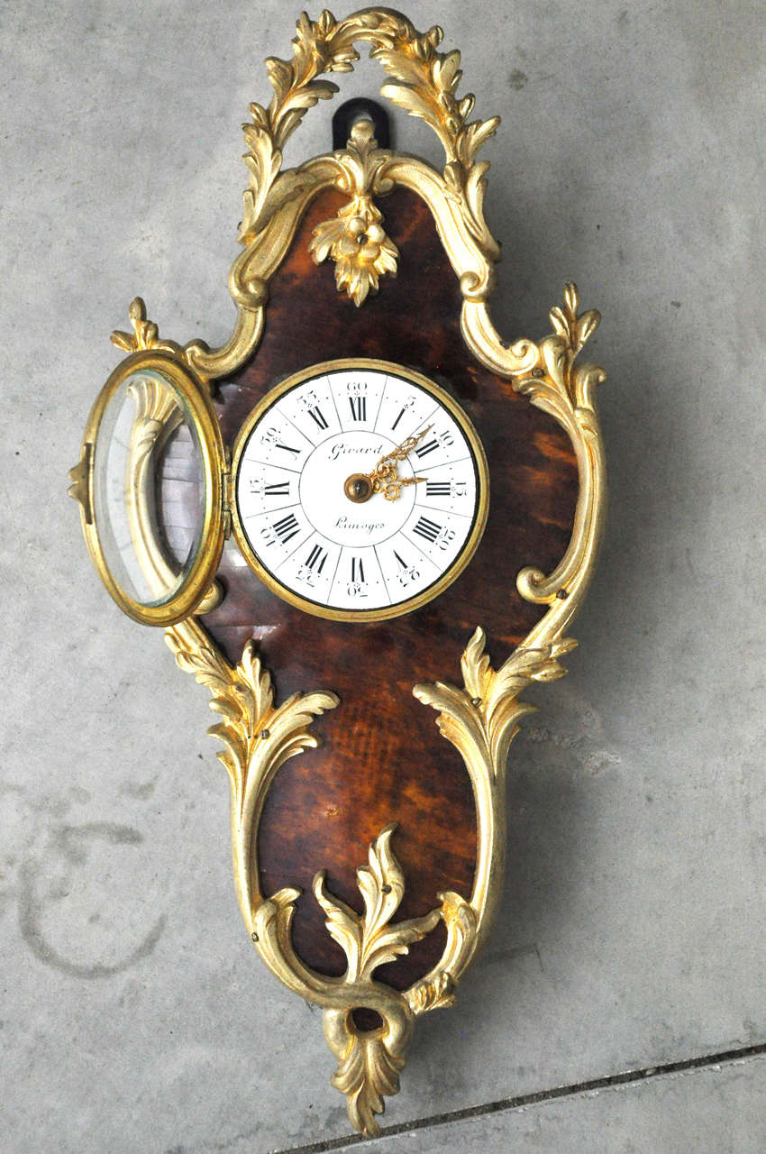 French Louis XV Style Tortoiseshell and Gilt Bronze Cartel Clock For Sale 2