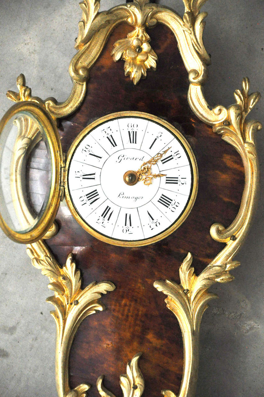 French Louis XV Style Tortoiseshell and Gilt Bronze Cartel Clock For Sale 4