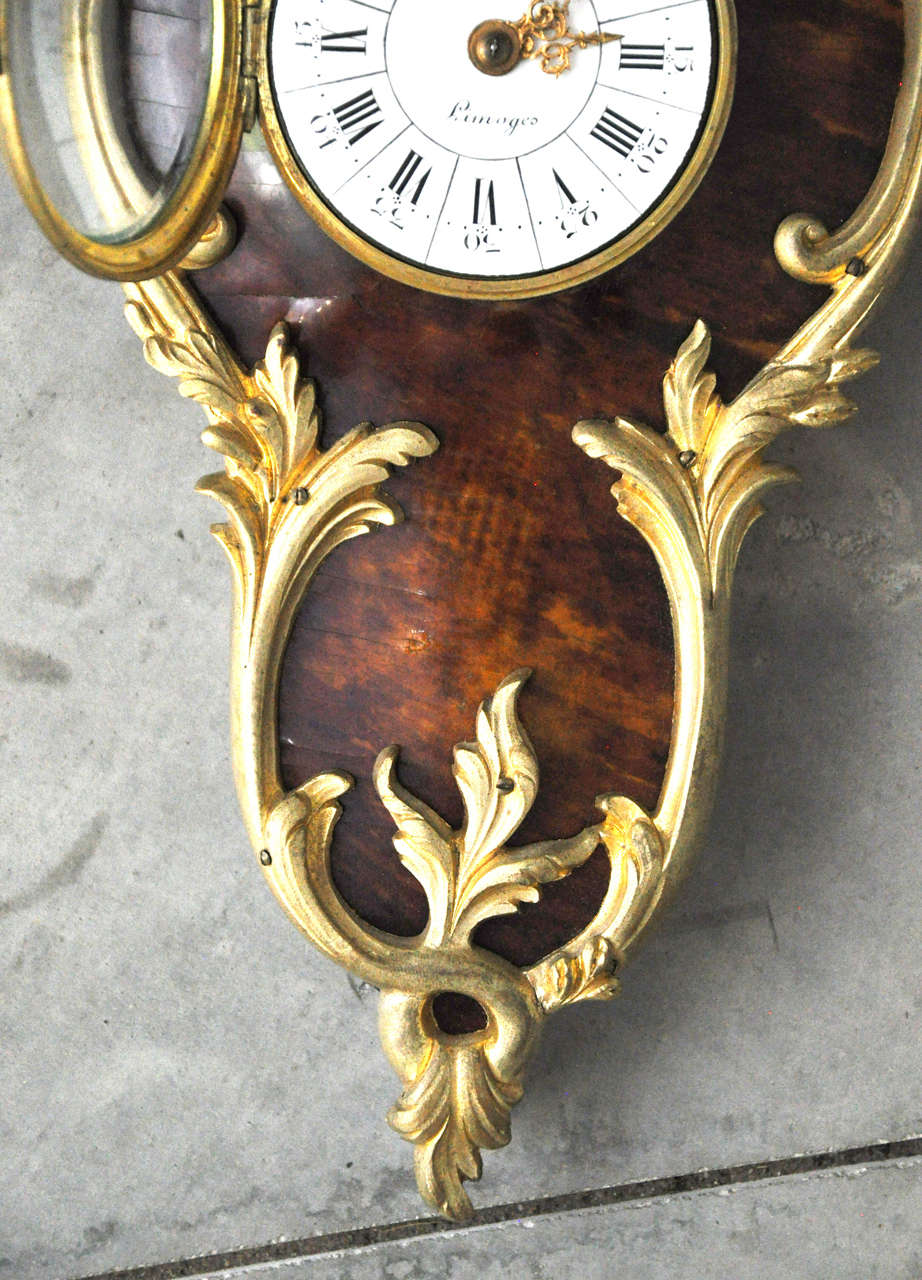 French Louis XV Style Tortoiseshell and Gilt Bronze Cartel Clock For Sale 5
