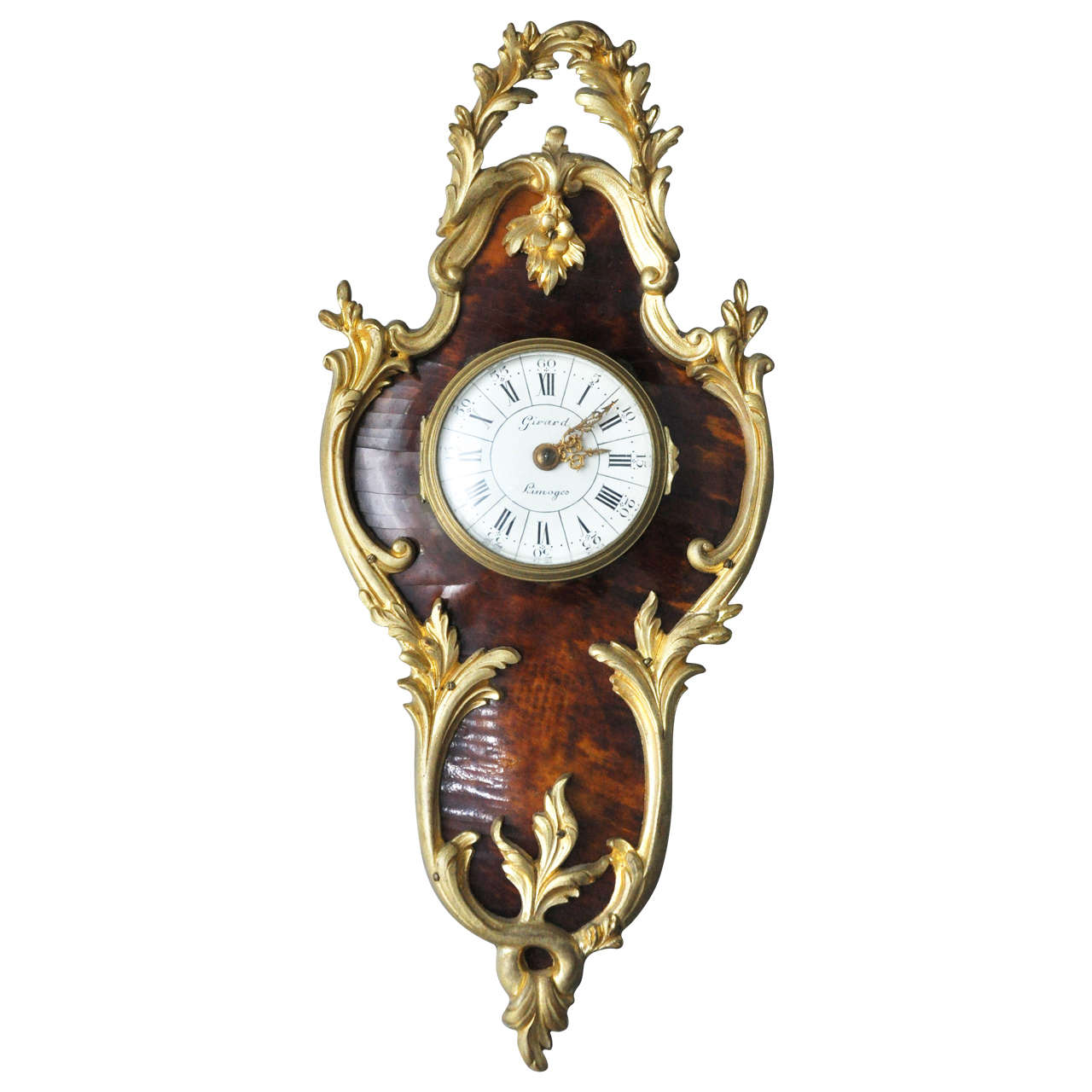 French Louis XV Style Tortoiseshell and Gilt Bronze Cartel Clock