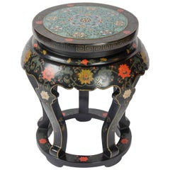 20th century Chinese Black Lacquered Side Table with Cloisonné Top
